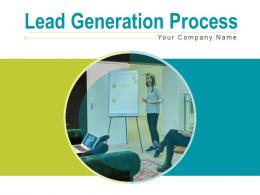 Lead Generation Process Developing Elements Marketing Flow Chart Dollar Sign Magnifying Glass Measure