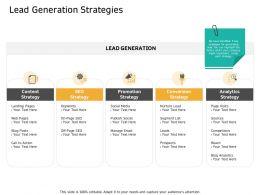 Lead Generation Strategies Page Visits Ppt Powerpoint Presentation Infographics Slide Portrait