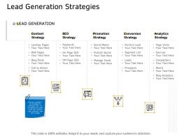 Lead Generation Strategies Ppt Powerpoint Presentation Gallery Diagrams