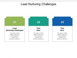 Lead Nurturing Challenges Ppt Powerpoint Presentation Summary Information Cpb