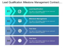 Lead Qualification Milestone Management Contract Management Product Information Management
