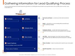 Lead Ranking Mechanism Gathering Information For Lead Qualifying Process Ppt Samples