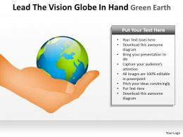 lead the vision globe in hand green earth ppt slide and templates