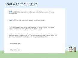 Lead With The Culture Leaders Ppt Powerpoint Presentation Professional Skills