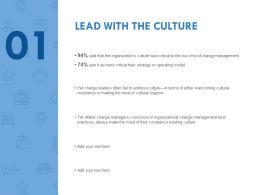 Lead With The Culture Management Ppt Powerpoint Presentation File Outline
