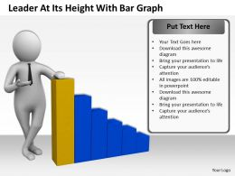 Leader At Its Height With Bar Graph Ppt Graphics Icons Powerpoint