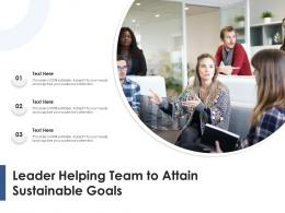 Leader Helping Team To Attain Sustainable Goals