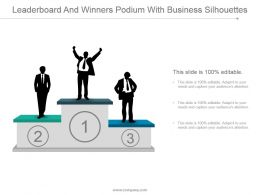 Leaderboard And Winners Podium With Business Silhouttes Ppt Sample File