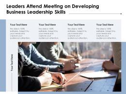 Leaders Attend Meeting On Developing Business Leadership Skills