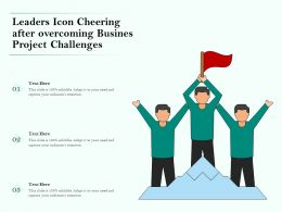 Leaders Icon Cheering After Overcoming Busines Project Challenges