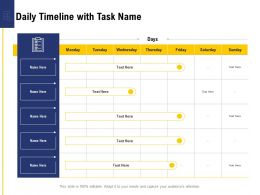 Leadership And Board Daily Timeline With Task Name Ppt Powerpoint Presentation Ideas Layout