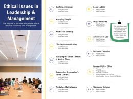 Leadership And Board Ethical Issues In Leadership And Management Ppt Powerpoint Ideas