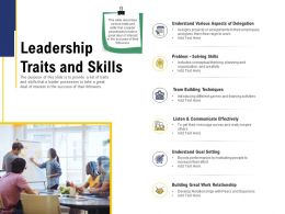 Leadership And Board Leadership Traits And Skills Ppt Powerpoint Presentation Download