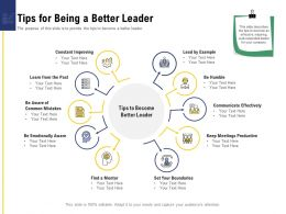 Leadership And Board Tips For Being A Better Leader Ppt Powerpoint Presentation Show Topics