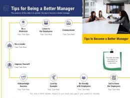 Leadership And Board Tips For Being A Better Manager Ppt Powerpoint Presentation Pictures