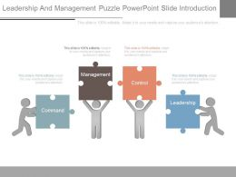 Leadership And Management Puzzle Powerpoint Slide Introduction