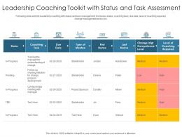 Leadership Coaching Toolkit With Status And Task Assessment