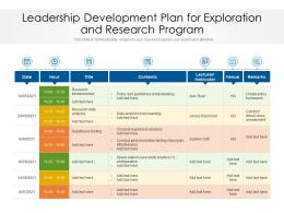 Leadership Development Plan For Exploration And Research Program