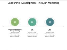 Leadership Development Through Mentoring Ppt Powerpoint Presentation Gallery Graphic Cpb