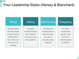 Leadership Four Leadership Styles Hersey And Blanchard Ppt Powerpoint Outline Brochure