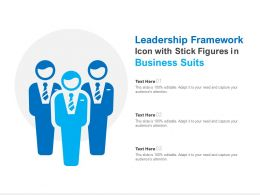 Leadership Framework Icon With Stick Figures In Business Suits