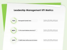 Leadership Management Kpi Metrics Managerial Quality Index Ppt Presentation Designs
