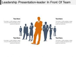Leadership Presentation Leader In Front Of Team