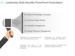 Leadership Skills Benefits Powerpoint Presentation