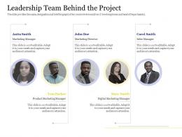Leadership Team Behind The Project Marketing Product Ppt Pictures Deck