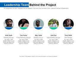 Leadership Team Behind The Project Pitch Deck For ICO Funding Ppt Microsoft