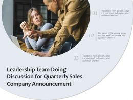 Leadership Team Doing Discussion For Quarterly Sales Company Announcement