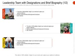 Leadership Team With Designations And Brief Biography R672 Ppt Demonstration