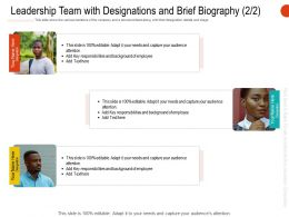 Leadership Team With Designations And Brief Biography R673 Ppt Portfolio