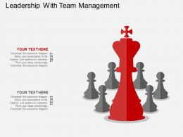 Leadership With Team Management Flat Powerpoint Design