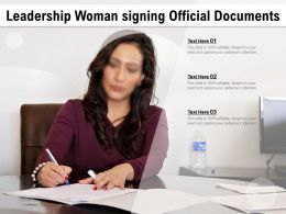 Leadership Woman Signing Official Documents
