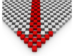 Leading Arrow Designed With Red And White Cubes Stock Photo