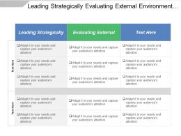 Leading Strategically Evaluating External Environment Internal Control System