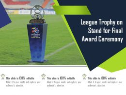 League Trophy On Stand For Final Award Ceremony