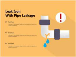 Leak Icon With Pipe Leakage