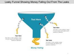 Leaky Funnel Showing Money Falling Out From The Leaks