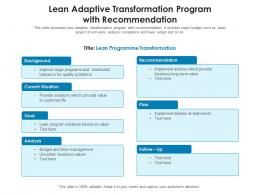 Lean Adaptive Transformation Program With Recommendation