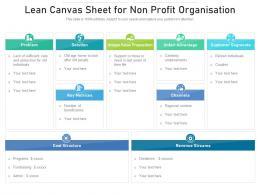Lean Canvas Sheet For Non Profit Organisation