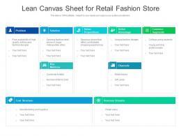 Lean Canvas Sheet For Retail Fashion Store