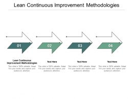 Lean Continuous Improvement Methodologies Ppt Powerpoint Presentation Summary Infographic Cpb