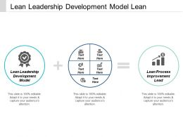 Lean Leadership Development Model Lean Process Improvement Lead Cpb