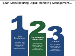 Lean Manufacturing Digital Marketing Management Due Diligence Sales Engagement Cpb