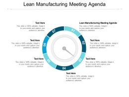 Lean Manufacturing Meeting Agenda Ppt Powerpoint Presentation Icon Graphics Cpb