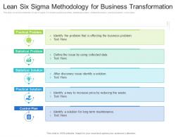 Lean Six Sigma Methodology For Business Transformation