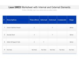 Lean SMED Worksheet With Internal And External Elements
