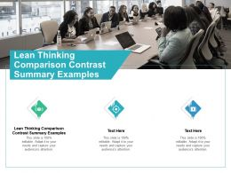Lean Thinking Comparison Contrast Summary Examples Ppt Powerpoint Presentation Summary Inspiration Cpb